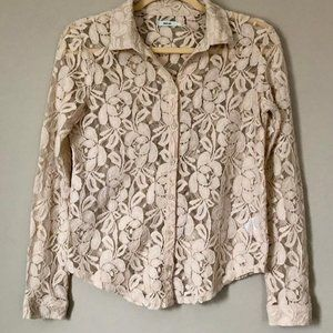 Kimchi Blue Anthropologie Cream Lace Blouse